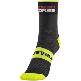 Castelli Rosso Corsa 9 Socks black/yellow fluo